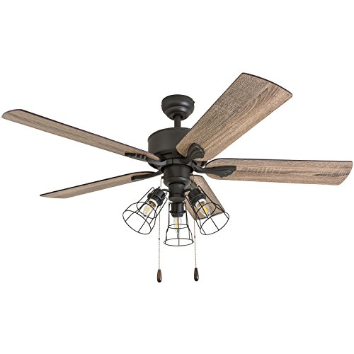 Prominence Home 50567-01 Aspen Pines Farmhouse Ceiling Fan, 52', Barnwood/Tumbleweed, Aged Bronze
