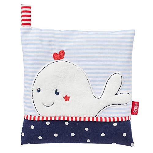 Fehn 078831 Kirschkernkissen Wal – wohltuendes Wärme- und Kältekissen mit süßer Wal Applikation für Babys und Kleinkinder ab 0+ Monaten – Maße: 15 x 15 cm