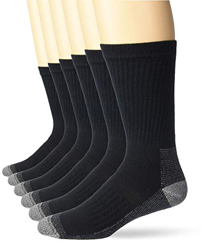 6 Pairs Fruit Of The Loom Men's Crew Black Socks For $5 From Amazon