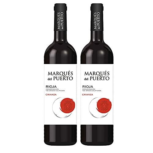 Vino Tinto Marques del Puerto Crianza de 75 cl - D.O. Rioja - Bardinet (Pack de 2 botellas)