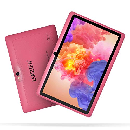 LAMZIEN Tableta 7 Pulgadas,1GB RAM y 16GB,Android OS,Quad-Core 1.5Ghz,Wifi,GPS,Bluetooth,Cámara Dual,Google Play, para Niños y Adultos,Rosa
