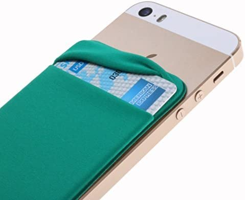Case Art Plus Credit Card Secure Holder Stick on Wallet [ Lid ] Discreet ID Holder Lycra Spandex Card Sleeves for Smartphones, iPhone 6, Samsung Galaxy Cell Phone Wallet Case 3M Adhesive (Green)