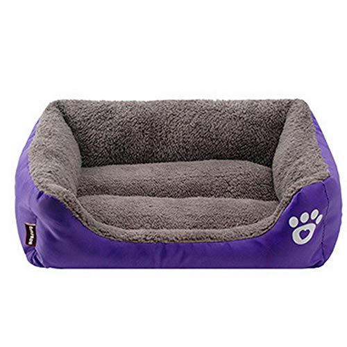 Rotagrod Cama grande para mascotas (S-3XL) 8 colores cálida y acogedora casa de perro suave nido canastas para perros, alfombrilla impermeable para perrera, morada, tamaño S, 45 x 40 x 12 cm.