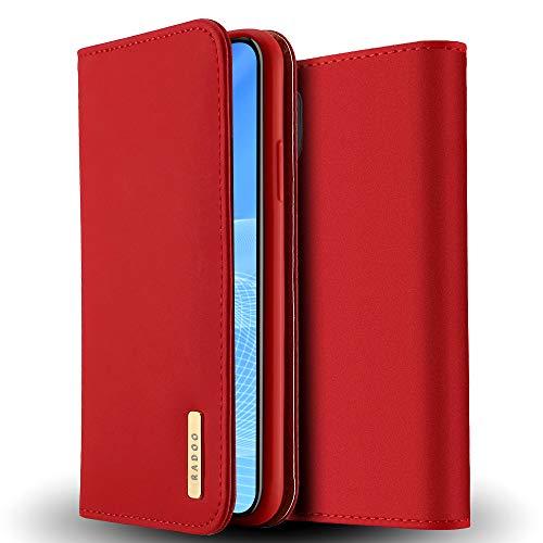 Radoo Coque iPhone XR en Cuir Véritable,Etui Portefeuille,Housse Premium Fine en Cuir Véritable avec Fermeture Magnétique & Fonction Stand & Rangements Cartes pour Apple iPhone XR 6.1 Pouce (Rouge)