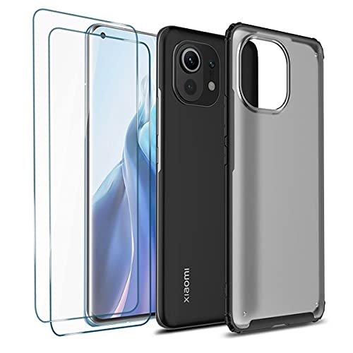 Coque Militaire Noter Compatible avec Xiaomi Mi 11 Lite 5G / 4G Etui Antichoc Protection, Housse Micro-Mat PC Dur Dos Souple Silicone TPU Case Translucide Cover, Noir