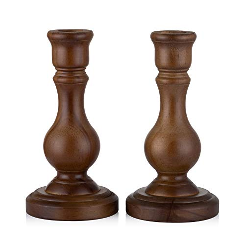 Sziqiqi Wooden Candle Holders for Taper Candle Set of 2 Wood Candlestick Holder for Home Dinner Table Countertop Fireplace Mantel Foyer Entryway Decoration Wedding Candle Centerpiece6.7''Tall Brown