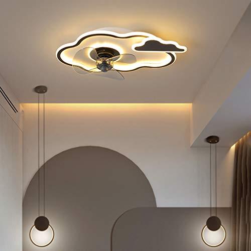 SYXBB-Lampe Dibujos Animados Diseño Ventilador Ajustable de 3 velocidades Luz de Techo LED Moderno LED Ventilador de Techo con iluminación Ultra-silenciosa Ventilador Invisible Luz de Techo,Negro