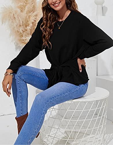 OtoñO E Invierno, Moda Informal para Mujer, Cuello Redondo, Corbata De Color SóLido, Jersey De Manga Larga, Camisa De Fondo, Camiseta Suelta, Top para Mujer