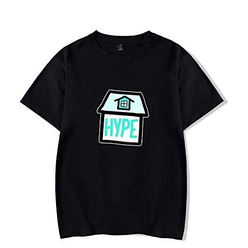 LYJNBB T-Shirts La Maison Hype Manches Courtes Sweat-Shirt, Tenue de Couple Unisexe Hauts T XS-XXL,Noir,L