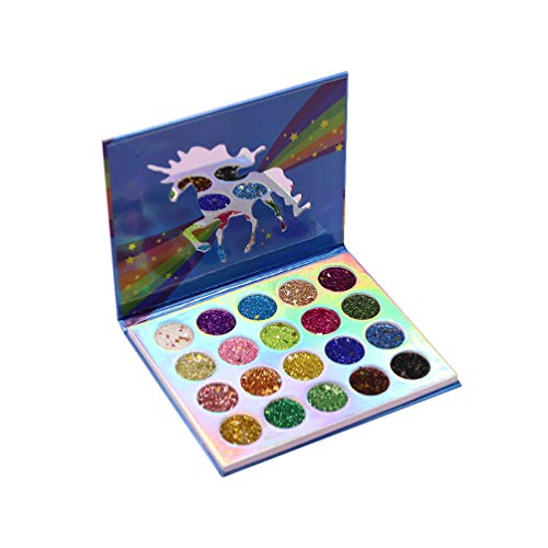 Lurrose paleta de sombras de ojos unicornio 20 colores paleta de sombras de ojos con brillo brillo maquillaje pigmentado sombra de ojos en polvo a prueba de agua para mujeres niñas