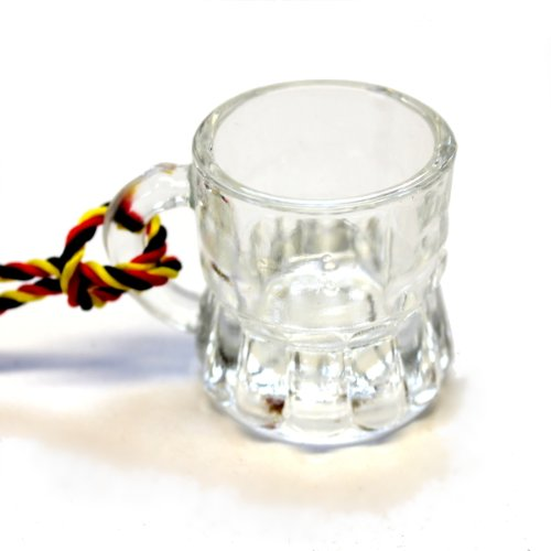 24 Schnapsglas mit Henkel am Band, Kohlfahrt, Junggesellenabschied aus Glas, Henkelstamper