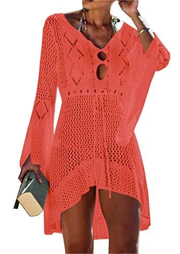 ZIYYOOHY Elegant Crochet Stricken Bikini Cover Up Boho Strandponcho Strandkleid (One Size, zOrange)