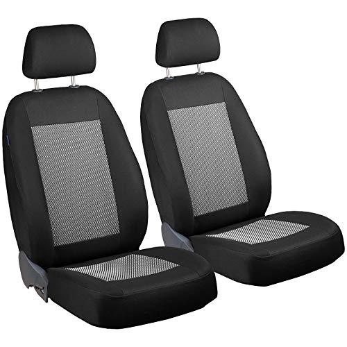 Zakschneider Mokka Vorne Sitzbezüge - für Fahrer und Beifahrer - Farbe Premium Schwarz-grau mit Weisse Striche