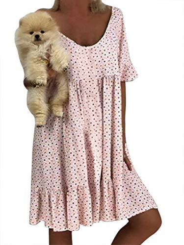 Minetom Damen Schulterfrei Strandkleid Bikini Cover Up Bikinikleid Beachwear Hemdkleid Kurzarm Wellenpunkt A-Linie Kleid Große Größe B Rosa DE 46