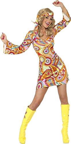 Smiffys 1960er Hippie Damenkostüm Mehrfarbig mit Kleid und Haarband, M (40-42 EU)