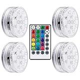 Uonlytech 4 luces LED sumergibles con mando a distancia HF, ventosas, impermeable, IP65, 16 luces que cambian de color, para jarrón con acuario de piscina