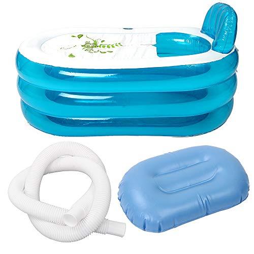 Festnight Opblaasbare badkuip, draagbaar, opvouwbaar pvc, verdikte opblaasbare badkuip, home camping, reisbad voor volwassenen en kinderen
