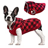 Kuoser British Style Plaid Dog Winter Coat, Windproof Cozy Cold Weather Dog Coat Fleece Lining Dog Apparel Reflective Dog Jacket Dog Vest for Small Medium Dogs with Removable Hat Red S