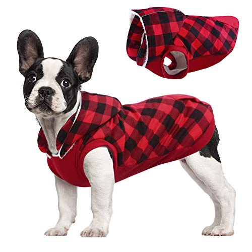 Kuoser British Style Plaid Dog Winter Coat, Windproof Cozy Cold Weather Dog Coat Fleece Lining Dog Apparel Reflective Dog Jacket Dog Vest for Small Medium Dogs with Removable Hat Red XXS