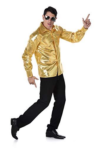 Karnival Costumes- Sequined Disco Shirt Déguisement, Men, 82121, doré, xl