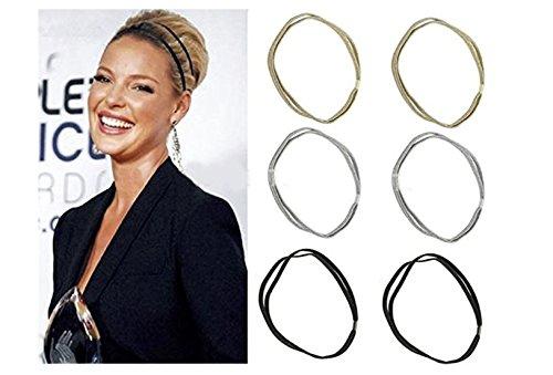 Shimmer Anna Shine Glitter Elastic Double Hooped Headband (Gold, Silver, Black)