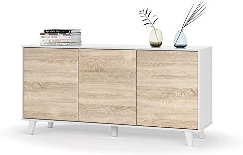 Mobelcenter - Mueble Aparador Moderno - Color Blanco Brillo y Roble Canadian - 3 Puertas - Medidas: Ancho: 154 cm x Fondo: 41 cm x Alto: 75 cm - (0737)