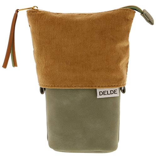 DELDE Pen Pouch Corduroy Brown x Green