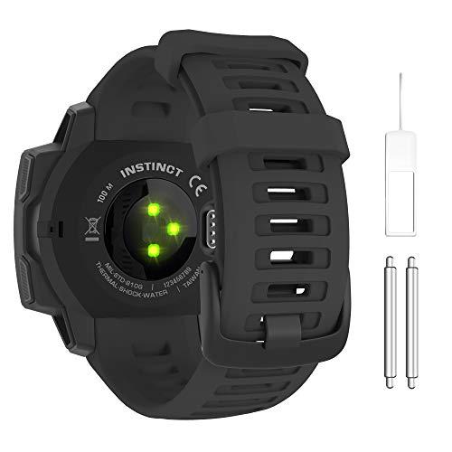 MoKo Correa Compatible con Instinct/Instinct Esports/Instinct Tactical/Instinct Solar/Camo/Surf/Tide Reloj con GPS, 22mm Pulsera de Repuesto Deportiva de Silicona Suave, Negro