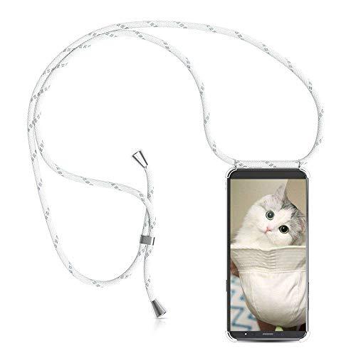 YuhooTech Funda con Cuerda para Samsung Galaxy A6 Plus, [Moda y Practico] [ Anti-Choque] [Anti-rasguños] Suave Silicona Transparente TPU Carcasa de movil con Colgante/Cadena, Blanco