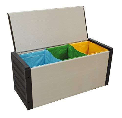 Buyly Cassapanca per Raccolta Differenziata in Resina da Interno/Esterno con Incluso Tris di Sacche Semi-rigide. 85 x 34 x 34 cm