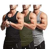 Mens Workout Stringer Tank Tops Fitness Performance Muscle Sleeveless Shirts Gym Training Bodybuilding Vest(GYAGBK L)
