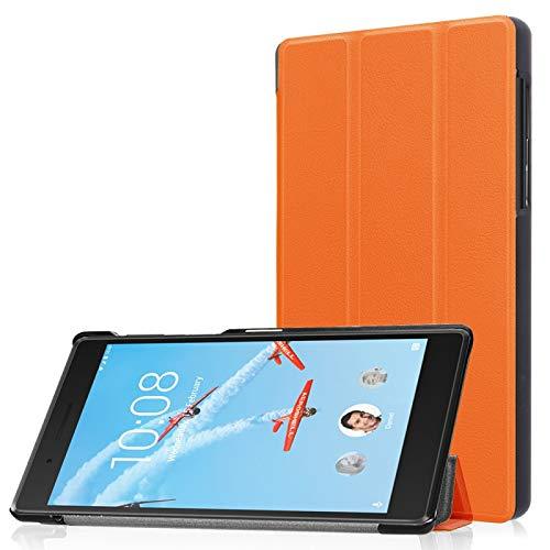 YANTAIAN Lenovo Tab 7 / Tab 4 (TB-7504F / TB-7504N / TB-7504X) Tri-Fold Custer Textura Horizontal Flip Funda Protectora de Cuero PU con Soporte (Color : Naranja)