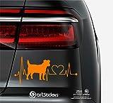 Artstickers Pegatinas para Coche con Forma de Perro Jack RUSELL Terrier, 20 cm, para Amantes de los Coches. Color Naranja. Pegatina Perro latidos corazón. Regalo Adhesivo Spilarts, Marca Registrada