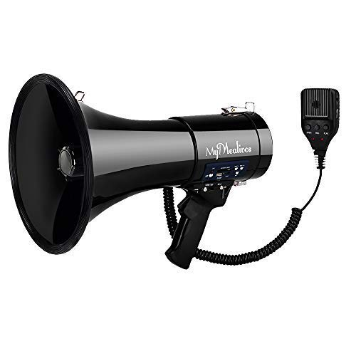 MyMealivos Megaphone with Siren Bullhorn 50 Watt Bullhorn Speaker with Detachable Microphone, Portable Lightweight Strap & 3.5mm Aux Input (Megaphone)