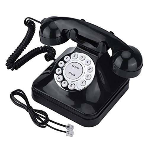 perfk Retro Schnurgebundenes Telefon Nostalgietelefon mit Wählscheibe und Metallklingel