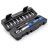 Kacsoo Llave dinamométrica para bicicleta de 1/4 de pulgada, herramienta de reparación de torque, kit de herramientas para bicicleta de 2 a 24 Nm para bicicleta, motocicleta, automóvil. (negro)
