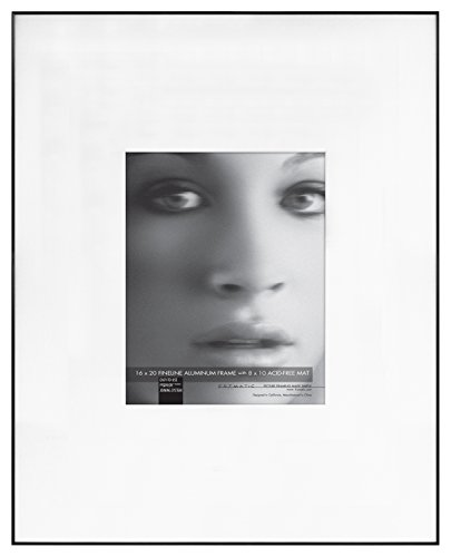 Framatic Fineline 16x20 Inch Aluminum Frame Matted to 8x10 Inch Photo, Black (302137)