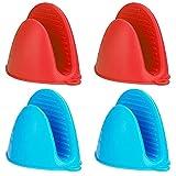 Guantes de Silicona Pot Holder Resistente al Calor Cocinar Dedo Protector Pinch Grips engrosados Mitones Mini Horno Mitones para Cocina Hornear Cocina Microondas Cocina (Rojo+Azul)…