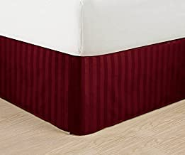 """Wrinkle Free - Egyptian Quality Stripe Bed Skirt - Pleated Tailored 14"""" Drop - and Colors, Queen, Burgundy"""