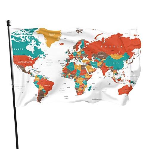 GOSMAO Bandera de Jardín Doble Costura Resistentes a la Decoloración UV Banner de Bandera Decorativo Exterior Fiesta Mardi Gras para Patio Césped Mapa del Mundo Vibrante 150X90cm