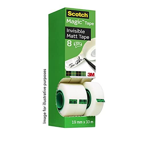 Scotch Magic Unsichtbares Klebeband - 8 Rollen - 19mm x 33m - Allzweck-Klebeband für die Reparatur, Etikettierung und zum Verschließen von Dokumenten
