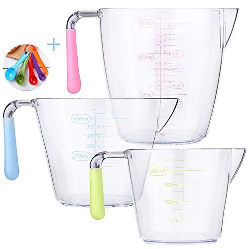 jiehu Vaso Medidor Juego de 3 jarras medidoras de plástico,Taza Medidora Transparente vaso batidora,200ml,400ml,900ml medidor liquidos jarra plastico,Cuchara medidora de Cinco Piezas