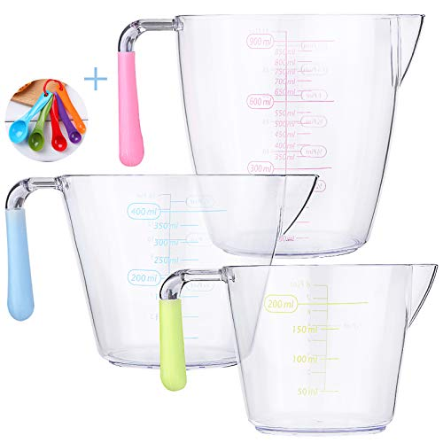 juehu Vaso Medidor Juego de 3 jarras medidoras de plástico,Taza Medidora Transparente vaso batidora,200ml,400ml,900ml medidor liquidos jarra plastico,Cuchara medidora de Cinco Piezas