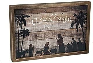 Ganz Light Up Wood Sign O Holy Night Home Decor,Brown