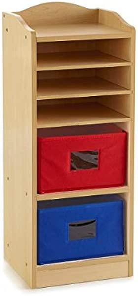 Guidecraft Tall Storage With 2 Bins Art Storage Classroom Multi Section Cubby School Supply Furniture Kids Toy Organizer