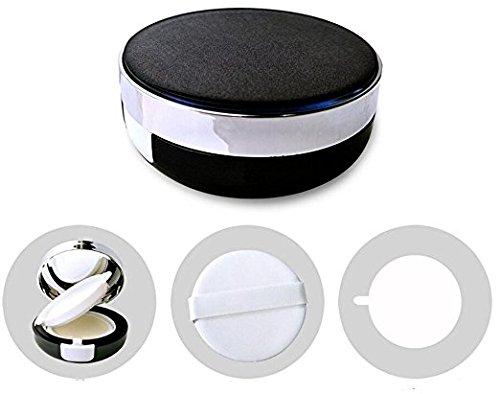 Ericotry 15 g leere Luftkissenquaste Cace Luxuriöser schwarzer Make-up-Puderbehälter, Reise-Dressing-Etui mit Schwamm-Puderquaste und extra Innenbehälter für BB CC Liquid...