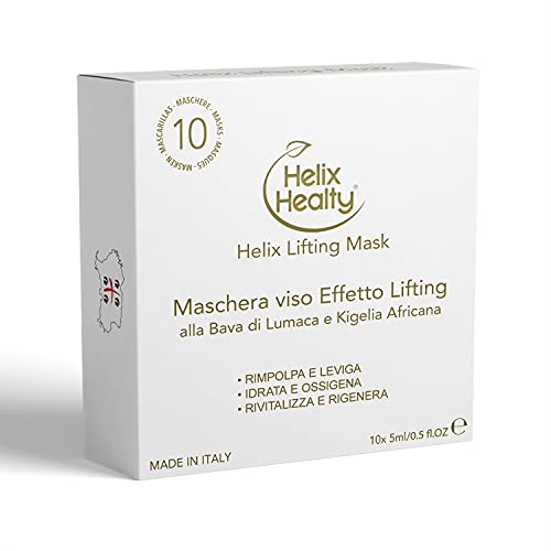 Helix Healty Maschera Viso effetto Lifting con Bava di Lumaca Pura e Kighelia Africana | Antiage Idratante Rimpolpante made in Italy 10x5ml