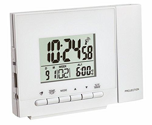 TFA Dostmann Funk-Projektionsuhr mit Thermometer, weiß mit Batterien