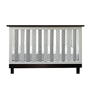 Go Mama Go Pure Safety Vertical Crib Liners in Grey/White Arabesque Grey, 24 Pack