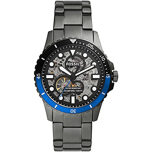 FOSSIL Mens Analog Automatic Uhr mit Stainless Steel Armband ME3201
